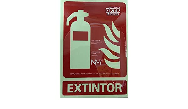 Cartel PVC Fotoluminiscente Extintor 30x21 clase B ...