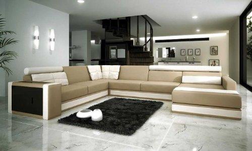 Modern Beige Bonded Leather (VIG Furniture VGEV-SP-1003 Divani Casa 1003 - Modern Bonded Leather Sectional)