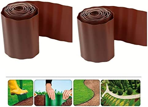 GARDEN GRASS FLEXIBLE GRAVEL FENCE PATH EDGING BROWN PLASTIC BORDER NEW