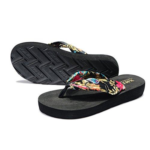 Femmes D'été Black Butterme Pantoufles Golden Plage Sandales Plate Wedge Bohème Accueil Sandale Floral Chaussures forme Tongs SwxFdH