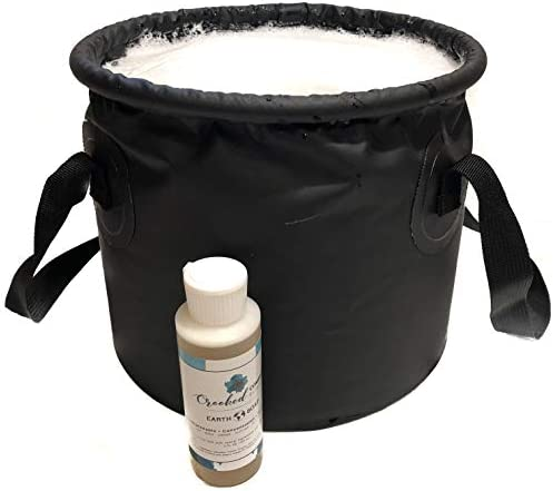 Collapsible Water Bucket Bag & Biodegradable Camp Soap, Natural Organic All Purpose Biodegradable Vegan Liquid Soap - Eco Dish Detergent, Laundry, Travel, Body Wash, Sulfate Free Shampoo