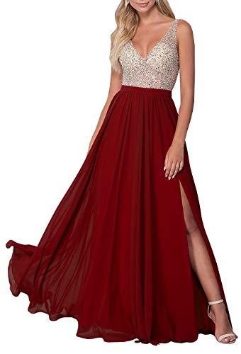 Illusion Bodice - Women's V-Neck Illusion Beaded Bodice Prom Dress Split Chiffon Evening Gown Burgundy,10