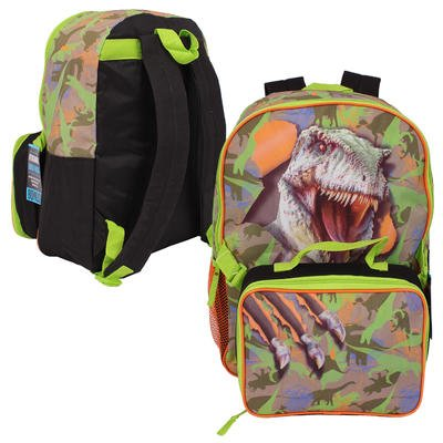Green Dinosaur Backpack with Lunch Bag - 16