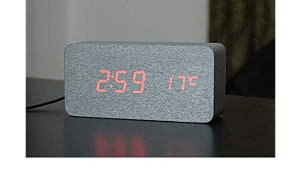 Amazon.com: New Digital Alarm Clock Wooden Silver Skin Clock Sound ...