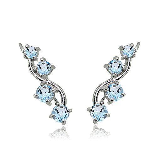 Sterling Silver Blue Topaz Vine Climber Crawler Earrings for -
