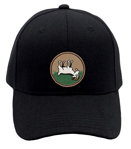 Patchtown Fainting Goat Hat! Adjustable-Back Ball Cap with Embroidered Fainting Goat (Black)