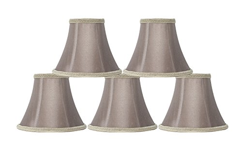 Urbanest Set of 5 Taupe with Braided Trim Silk Bell Chandelier Lamp Shade, 3-inch by 6-inch by 5-inch, ()