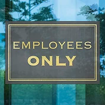 Classic Gold Window Cling Employees Only 5-Pack 27x18 CGSignLab