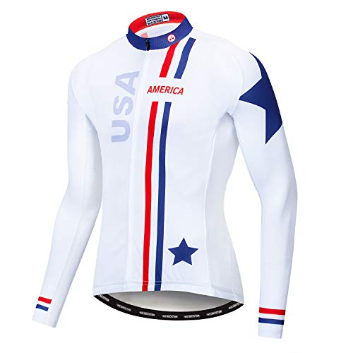 Men's Cycling Jersey Long Sleeve Pro Brand Team Reflective Bicycle Shirts Jacket USA