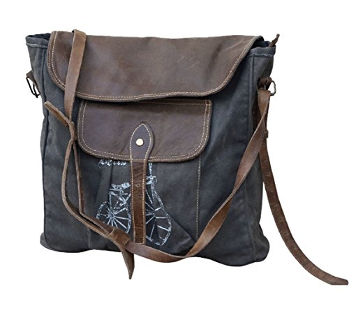 Clea Ray Recycled Green Canvas Bicycle Messenger Bag Adjustable Strap, 15 x 14 Inches