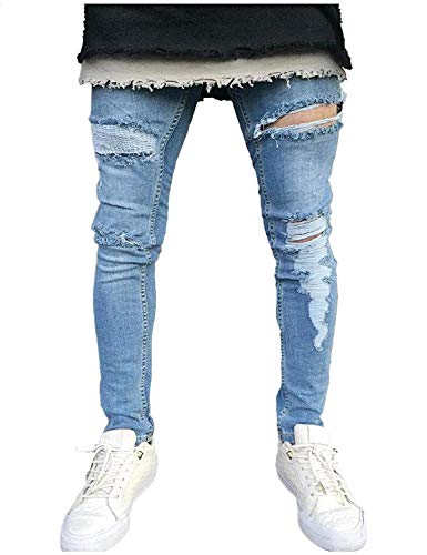 Casual Da Pantaloni Uomo Ragazzi Skinny Distrutti Moda Jeans Denim Vintage Classiche Colour Strappati IYrYqn6g