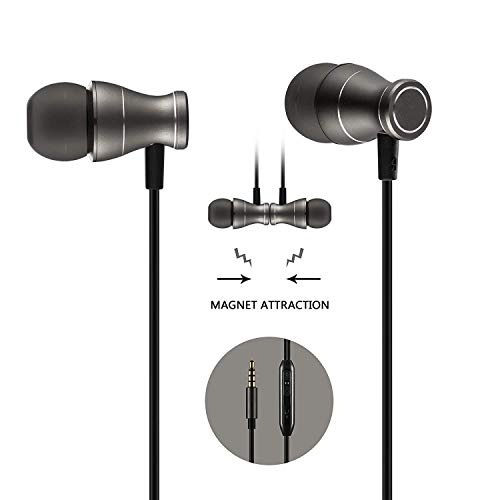 Bambud in-Ear Earbuds Headphones, Magnetic Wired Earphones Stereo Bass Noise Cancelling Ear Buds Headsets with Microphone and Volume Control for All 3.5mm Jack Phones and Tablets