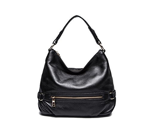 Leather Tote Purses Handbag Casual Crossbody Shoulder and Style Satchel Black Mayshe Bags Genuine Hobo Womens B0q4qIw