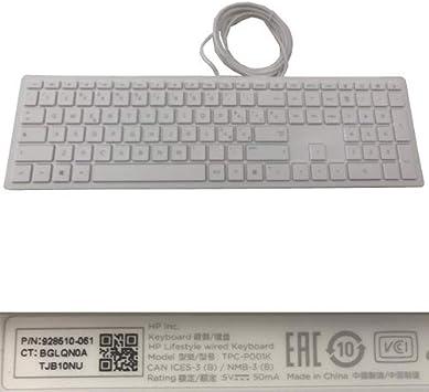 Desconocido Teclado con Cable Blanco HP TPC-P001 928510-061 ...