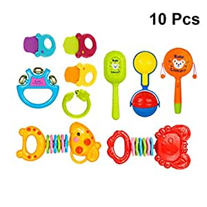 Toyvian 10pcs Rattle Teether Set Educational Shaking Grab Spin Adorable Rattle Gift Toys Accessory Teether for Infant Children Newborn