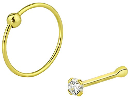 Set of 2 Styles Nose Rings: Sterling Silver Gold Plated 1.25mm CZ Stud and 9mm Nose Hoop by Forbidden Body Jewelry