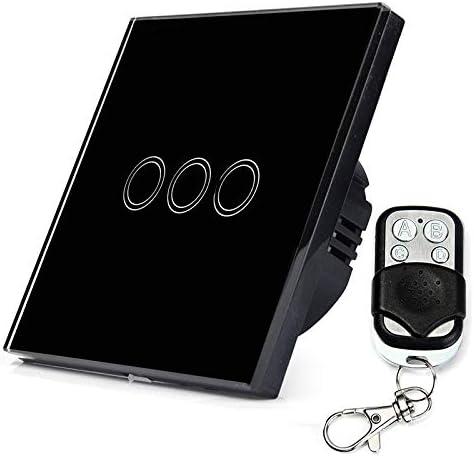 スマートホーム 86mm 3ギャング1ウェイ強化ガラスパネルウォールスイッチスマートホームライトタッチスイッチRF433リモートコントローラ、AC 110Vから240V スマートホーム (色 : Black)