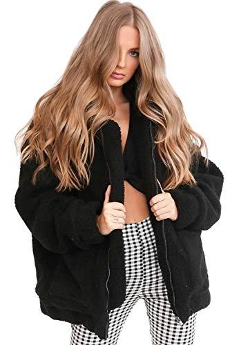 Zip Black Outerwear Donne Le Cardigan Davanti Della Yulinge Aperta Inverno Pieno Giacca xZq7YYwf