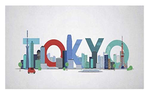 Lunarable Tokyo Doormat, Modern Architecture Style Downtown Panorama of Tokyo City with Typography Image Print, Decorative Polyester Floor Mat with Non-Skid Backing, 30