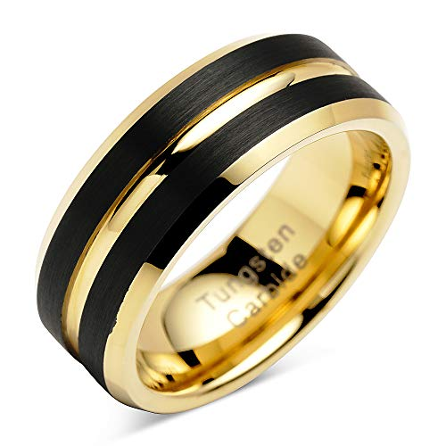 (100S JEWELRY Tungsten Rings for Mens Wedding Bands Black Matte Gold Grooved Center Size 8-16 (8))