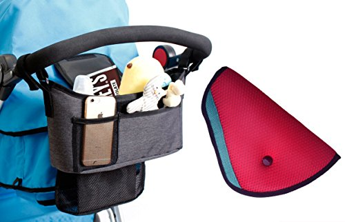 Lowest Prices! Stroller Organizer - Universal fit with Adjustable Straps with FREE Car Seatbelt Cove...