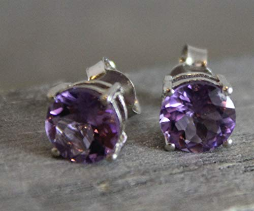 8mm Purple Amethyst Sterling Silver Stud Earrings