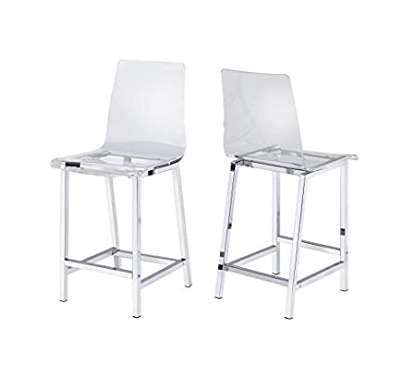 Superb Counter Stools Chrome And Clear Set Of 2 Unemploymentrelief Wooden Chair Designs For Living Room Unemploymentrelieforg