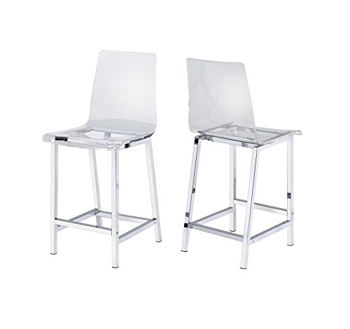 Counter Stools Chrome and Clear (Set of 2)