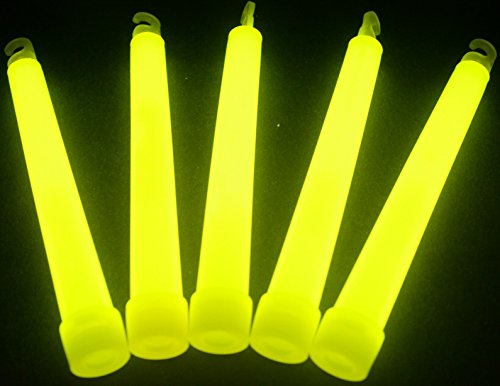 "Glow Sticks Bulk Wholesale, 25 6"" Industrial Grade Yellow Light Sticks. Bright Color, Glow 12-14 Hrs, Safety Glow Stick with 3-year Shelf Life, Glow With Us Brand"