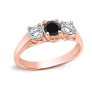 14k Rose Gold Round Three-Stone Black Diamond Engagement Ring (1/2 cttw, Black, H-I, I1-I2)
