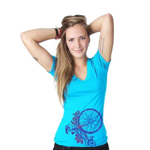 Clockwork Gears Women's Flower Bike Cycling T-Shirt, Tahiti Blue, X-Large ClockworkGears CWG-W40001XL