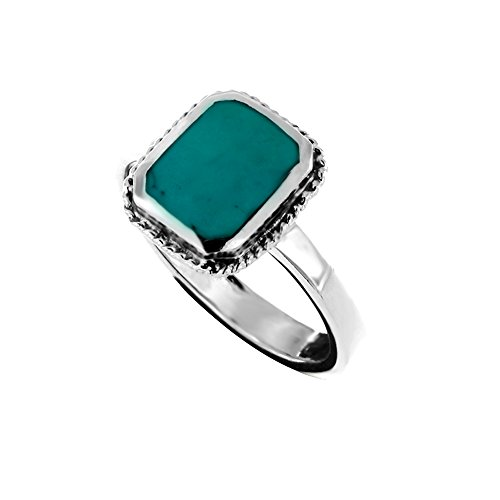 Oxidized Sterling Silver Rope Framed Blue Dyed Turquoise Square Gemstone Ring, Size 7
