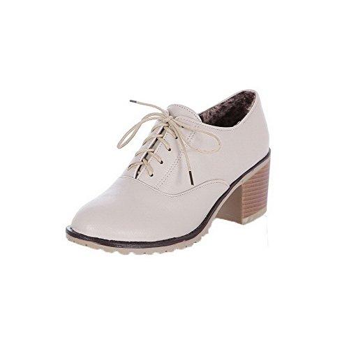 Absatz 36 Schnürschuhe Absatzschuhe und rundem Heels mit Low Odomolor Damen Beige PU w8Yxqz0nPI