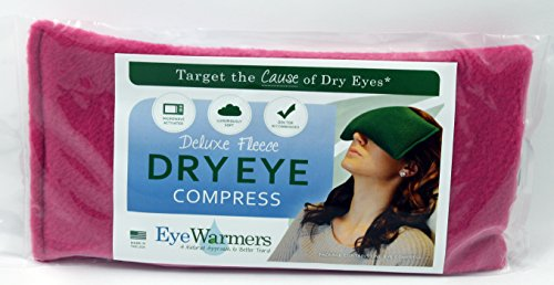 Dry Eye Compress, EyeWarmers Marque. Deluxe Version Toison. Réchauffez Compress pour les yeux secs, Chalazion, Orgelets, Computer Vision Syndrome ou Fatigué Dégagement oculaire. Tout remplissage naturel. Made in USA! (Rose)