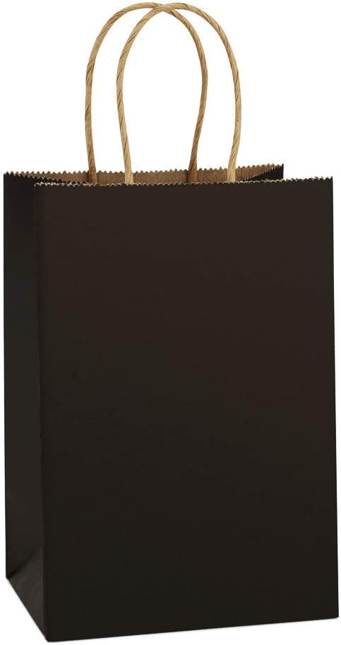Paper Bags Party Grocery Retail Shopping Bags Bagmad Small Size Brown Kraft Bags 5.25x3.25x8 inch 50 Pcs Pack Plain Gift Bags with Handles Bulk Not Thick 50pcs Wedding Craft Bags Cub Sacks
