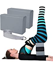 Yoga Blocks and Straps Set, Yoga Block 2 Packs High Density Soft EVA Foam for Home Exercise Pilates, Yoga, General Fitness, Stretching and Toning Workouts