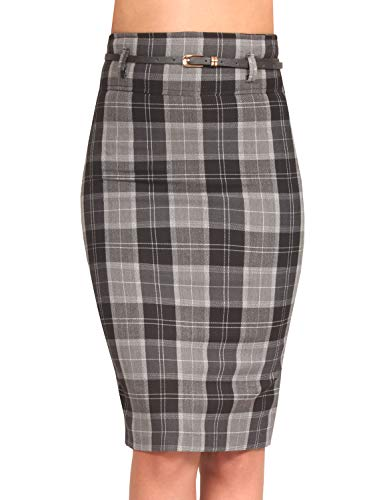 J. LOVNY Womens Plaid High Waisted Knee Length Belted Pencil Office Skirts