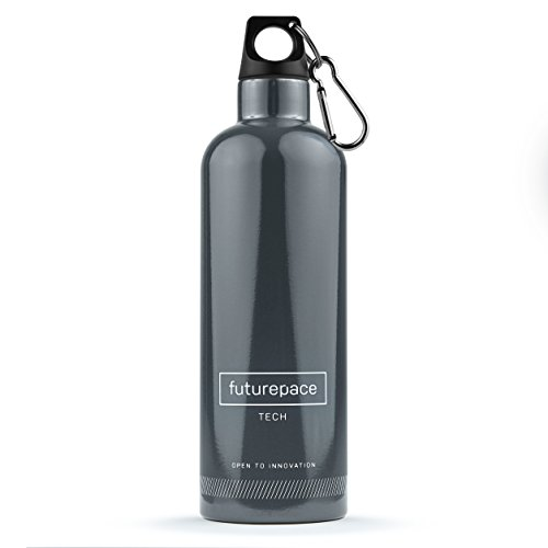 Black Friday SAVINGS - DARK GREY, Reusable, Eco, Metal Insulated Water Bottle 20oz BPA FREE by Futurepace Tech - SO MANY USES! Tea, Coffee, Wine, Smoothie, Detox Juice, Essential Oils, Men Women