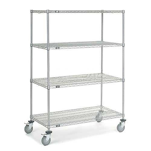 Chrome Wire Shelf Truck, 48x24x69 1200 Pound Capacity with Brakes