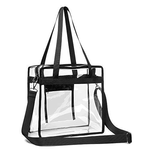 iSPECLE Clear Tote Bag, Clear Bag Stadium Approved for NFL Football Games, PGA, NCAA Events, Works, Adjustable Shoulder Strap for Women Men 12 x 12 x 6 inch Black