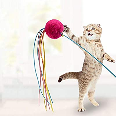 OUTAI Gato Gracioso Gato Bola de Juguete Gatito Gatito Gato Campana Pluma Hada Gato Divertido Gato Gato de Juguete Suministros para Mascotas Gatito Juguete ...