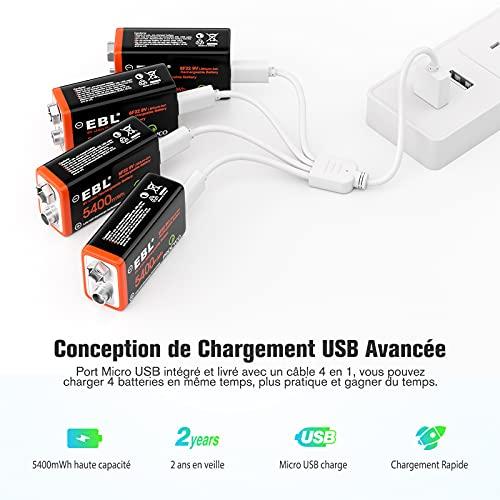 EBL 4PCS Piles 9V Rechargeables 5400mWh, Batteries 9V 6F22 Rechargeables Li-ION, Charge Directe par Câble Micro USB 4 en 1 Fourni