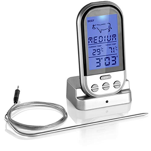 Wireless Meat Thermometer with Large LCD Digital Display and Long Probe for BBQ Grill Smoker and Cooking, Belmint Instant Read BBQ Meat Thermometer Measure Food Temp, Connection up to 100 Foot Range