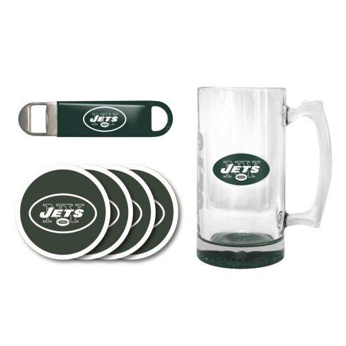- NFL Team Logo Giant Beer Mug, Coasters, and Bottle Opener Gift Set - 25oz. Beer Mug Beverage Set (Jets)