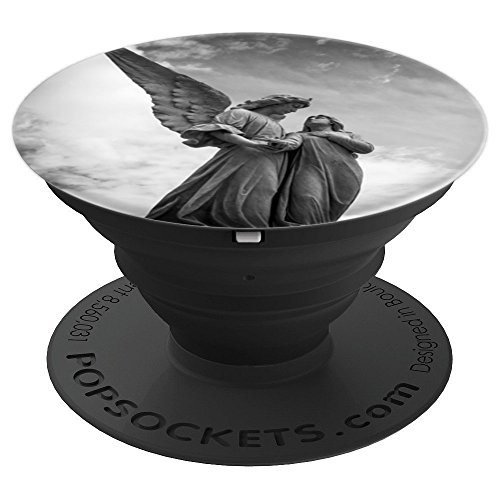 Artistic Sculpture - Beautiful Angel Sculpture Artistic Art Cloudy Sky - PopSockets Grip and Stand for Phones and Tablets