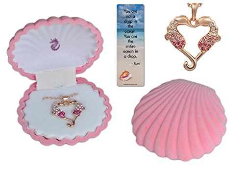 Girl's Seahorse 18K Rose Gold Plated Heart Pendant with Pink and White Crystals in Shell Jewelry Box, 18