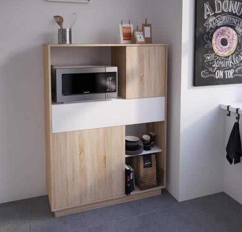 Miroytengo Mueble Armario microondas Cocina Color Roble y Blanco ...