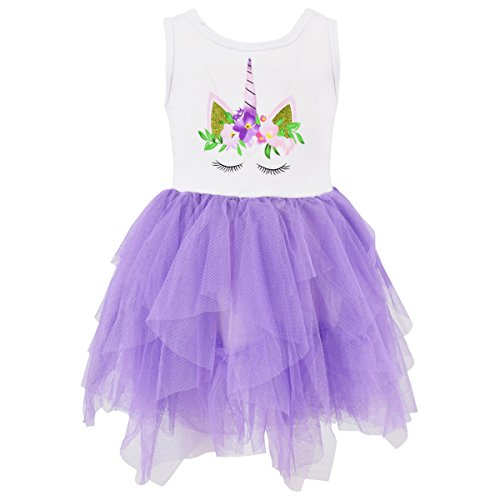 Unique Baby Girls Summer Unicorn Dress with Tutu (4T/M, Purple) -