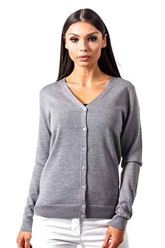 KNITTONS Women's Wool V-Neck Cardigan Button Up Long Sleeve Sweater (Grey Melange, Large)