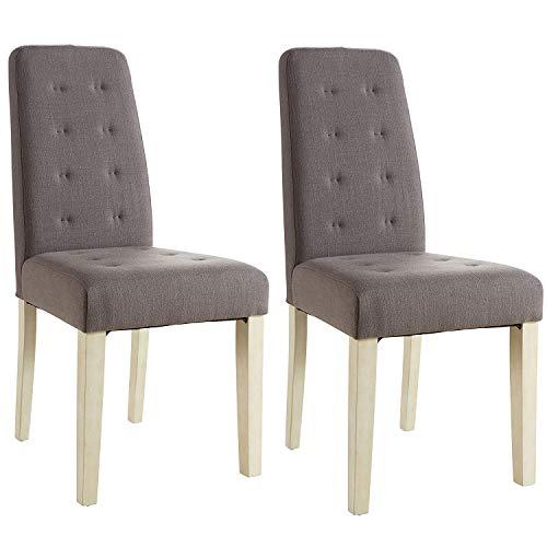 Abitti Pack 2 sillas para Comedor o salon tapizadas en Tela Marron y Estructura en Madera Maciza de Pino 45x95cm